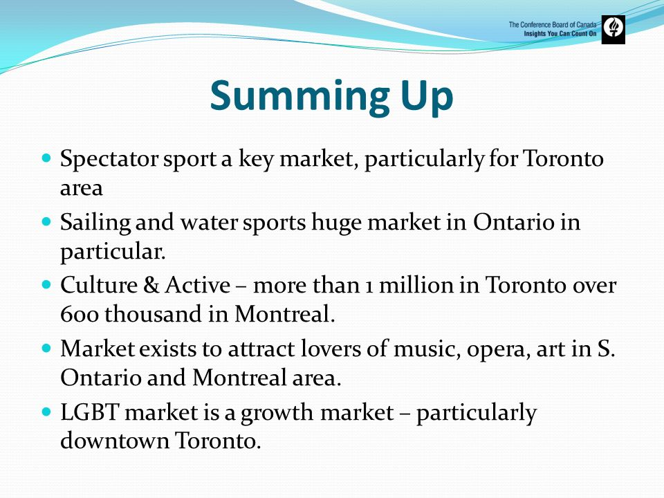 Summing Up Spectator sport a key market, particularly for Toronto area