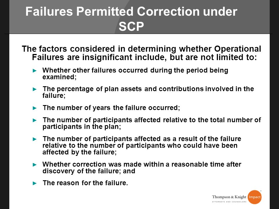 Failures Permitted Correction under SCP