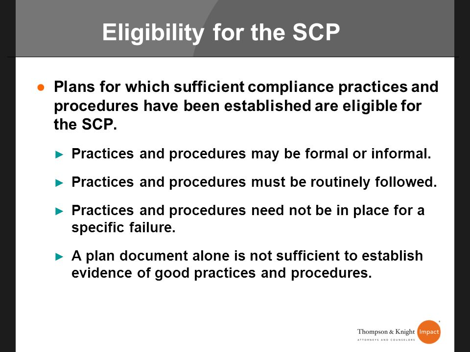 Eligibility for the SCP