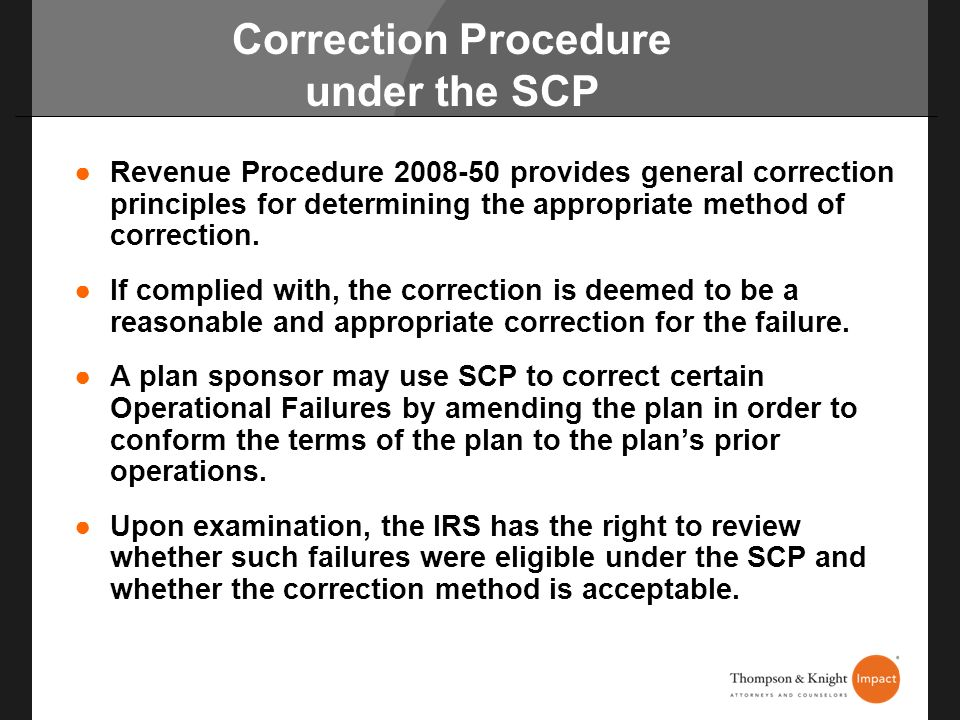 Correction Procedure under the SCP
