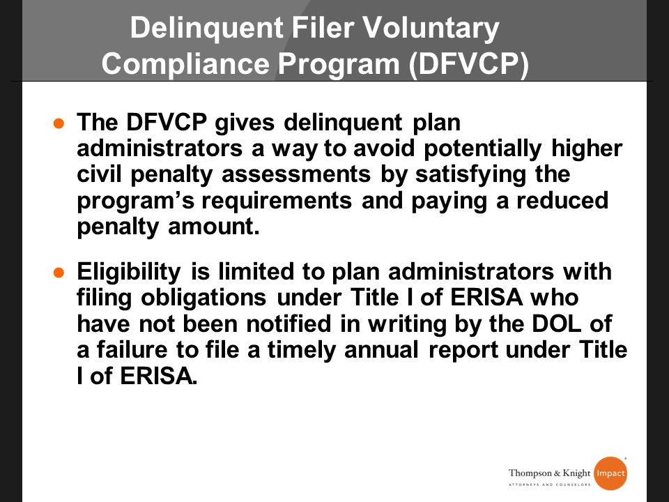 Delinquent Filer Voluntary Compliance Program (DFVCP)