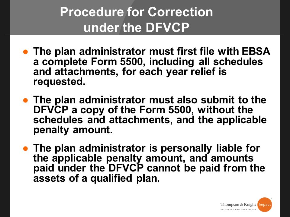 Procedure for Correction under the DFVCP