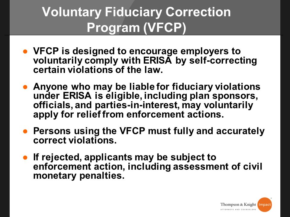 Voluntary Fiduciary Correction Program (VFCP)