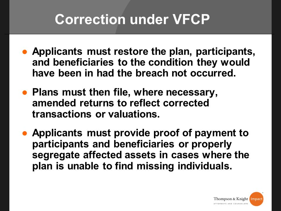 Correction under VFCP