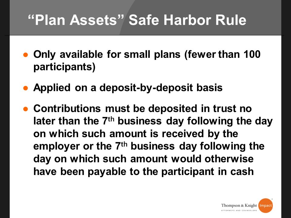 Plan Assets Safe Harbor Rule