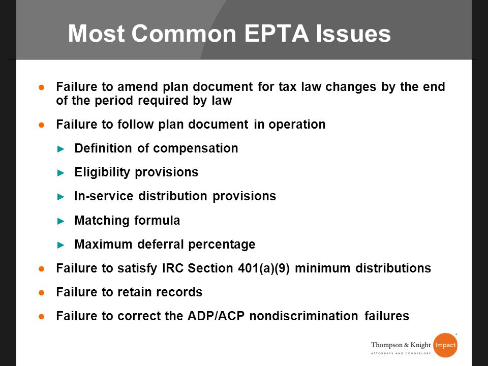 Most Common EPTA Issues