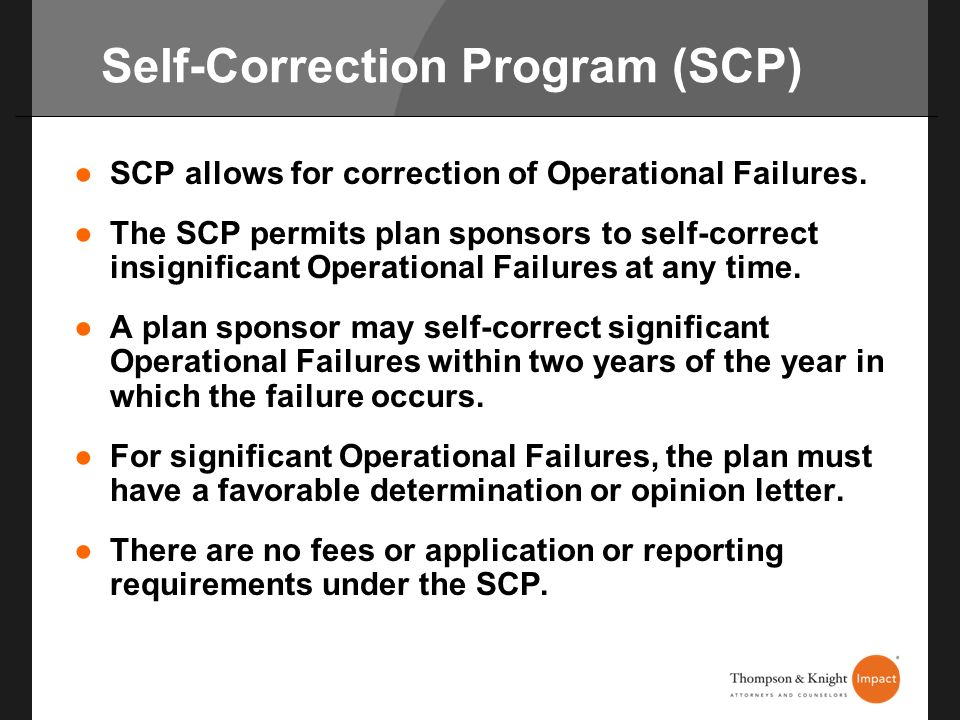 Self-Correction Program (SCP)