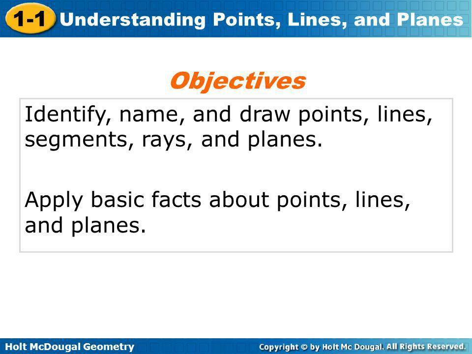 Objectives Identify, name, and draw points, lines, segments, rays, and planes.