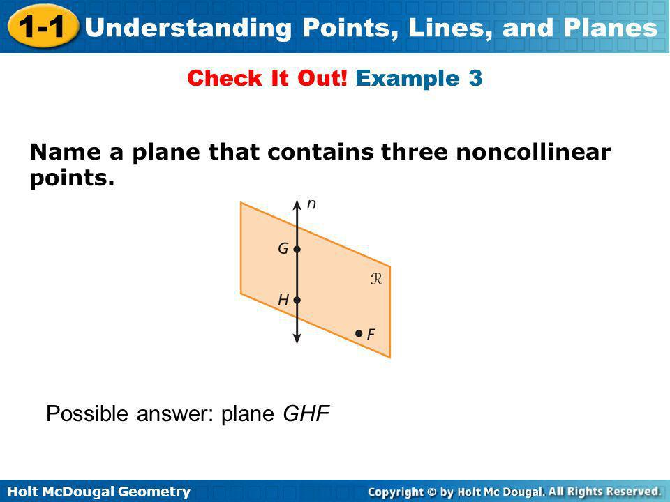 Check It Out. Example 3 Name a plane that contains three noncollinear points.