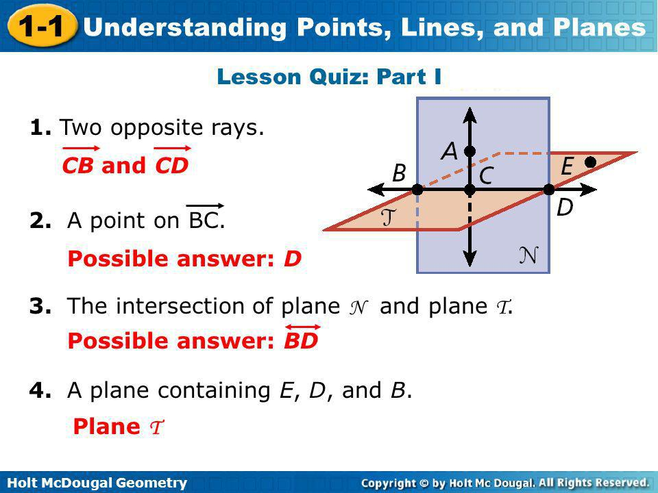 Lesson Quiz: Part I 1. Two opposite rays. CB and CD. 2. A point on BC. Possible answer: D. 3. The intersection of plane N and plane T.