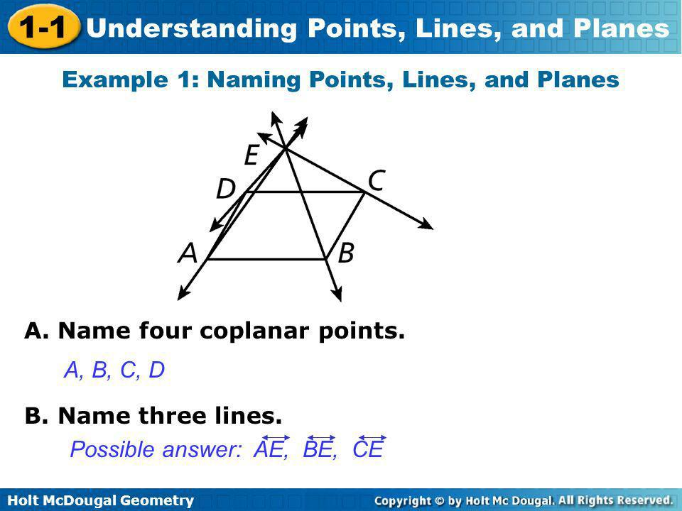 Example 1: Naming Points, Lines, and Planes