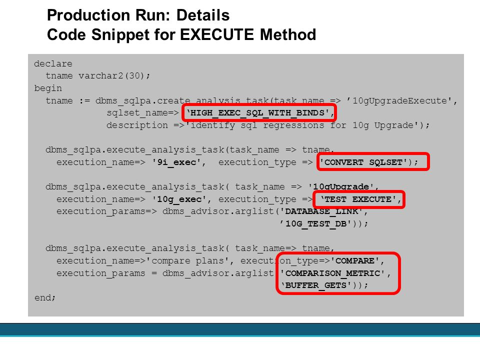 Production Run: Details Code Snippet for EXECUTE Method