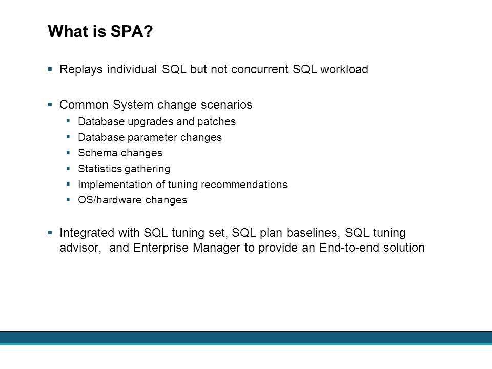 What is SPA Replays individual SQL but not concurrent SQL workload