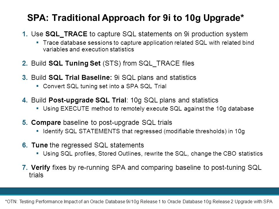 SPA: Traditional Approach for 9i to 10g Upgrade*