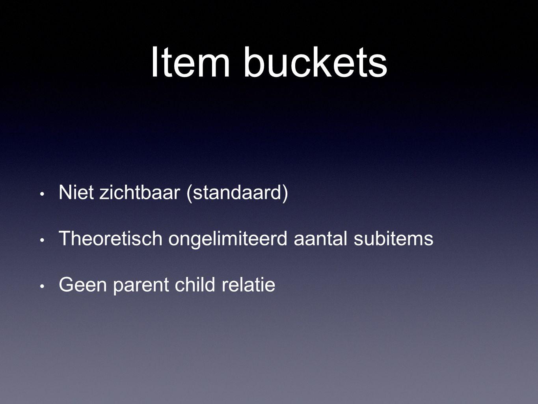 Item buckets Niet zichtbaar (standaard)