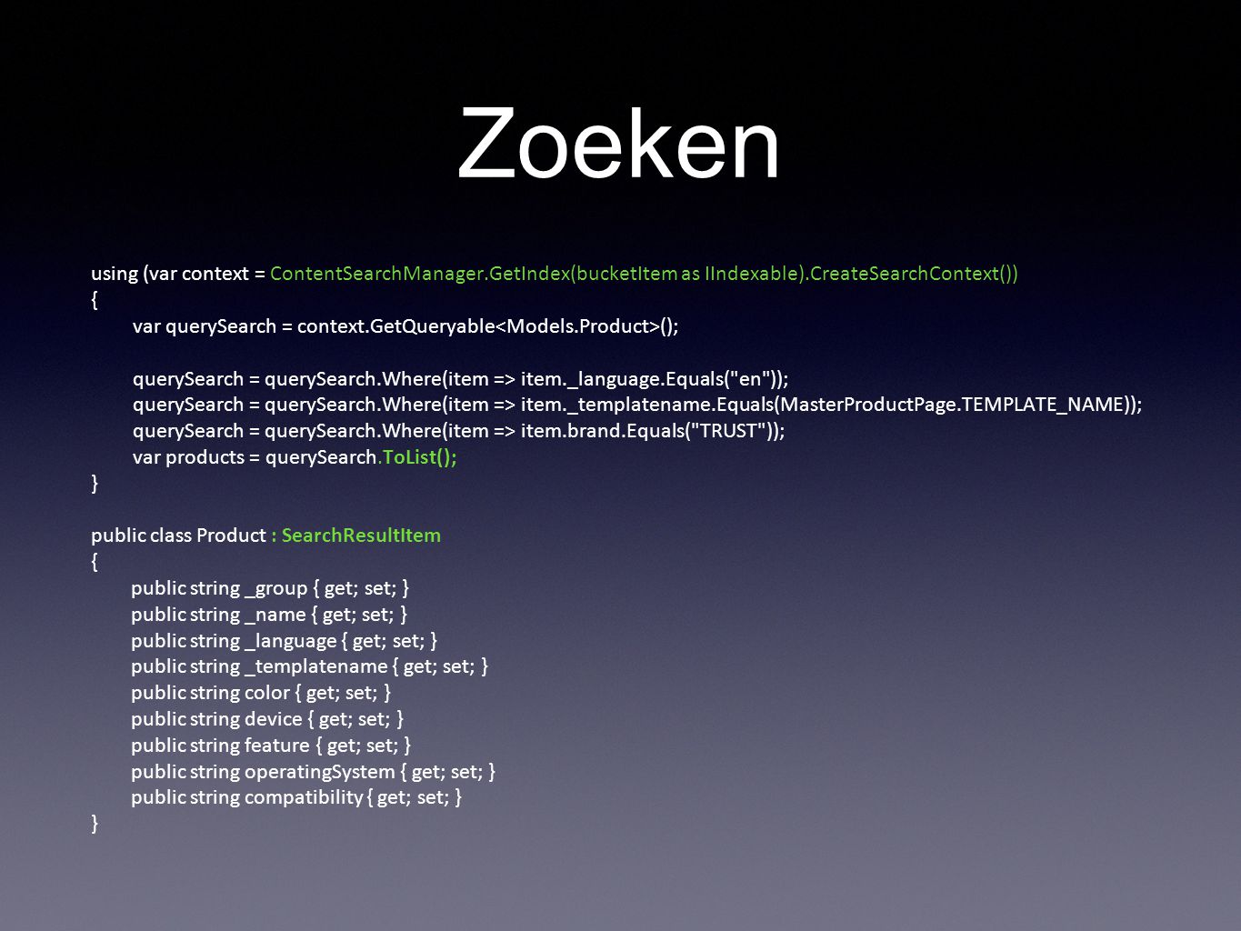 Zoeken using (var context = ContentSearchManager.GetIndex(bucketItem as IIndexable).CreateSearchContext())