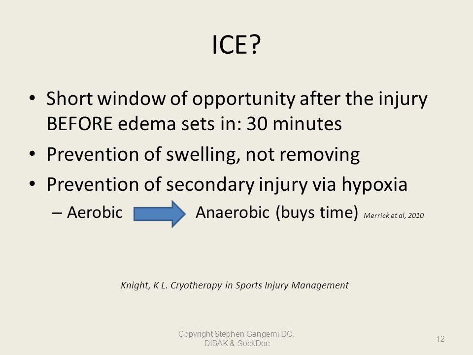 ICE Short window of opportunity after the injury BEFORE edema sets in: 30 minutes. Prevention of swelling, not removing.