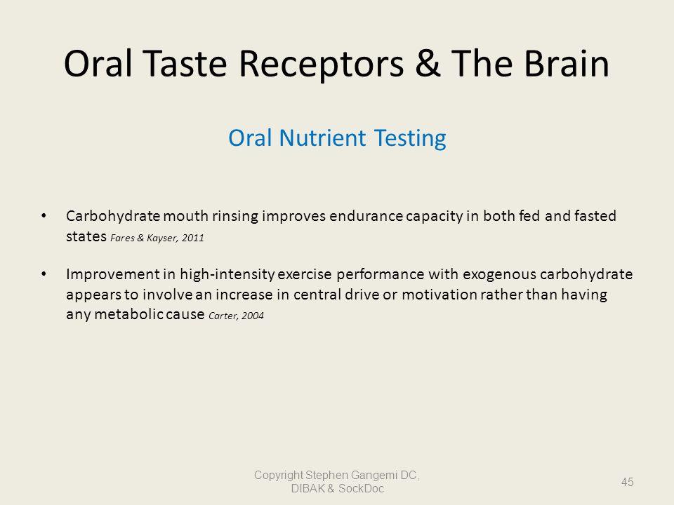 Oral Taste Receptors & The Brain