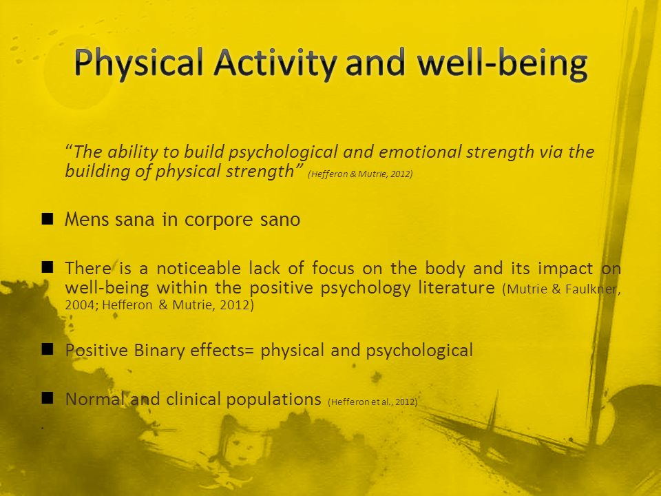 Physical Activity and well-being