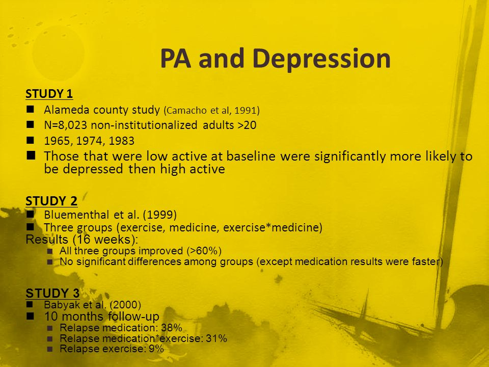 PA and Depression STUDY 1. Alameda county study (Camacho et al, 1991) N=8,023 non-institutionalized adults >20.