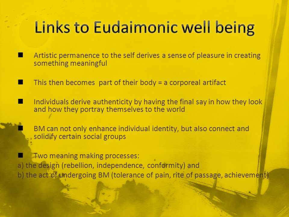 Links to Eudaimonic well being