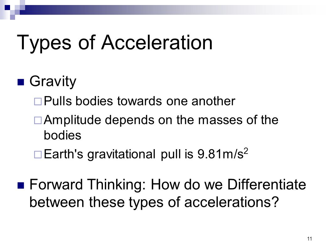 Types of Acceleration Gravity