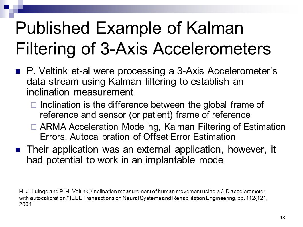 Published Example of Kalman Filtering of 3-Axis Accelerometers