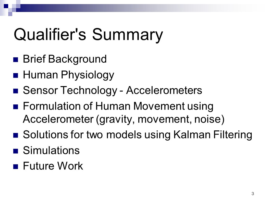 Qualifier s Summary Brief Background Human Physiology