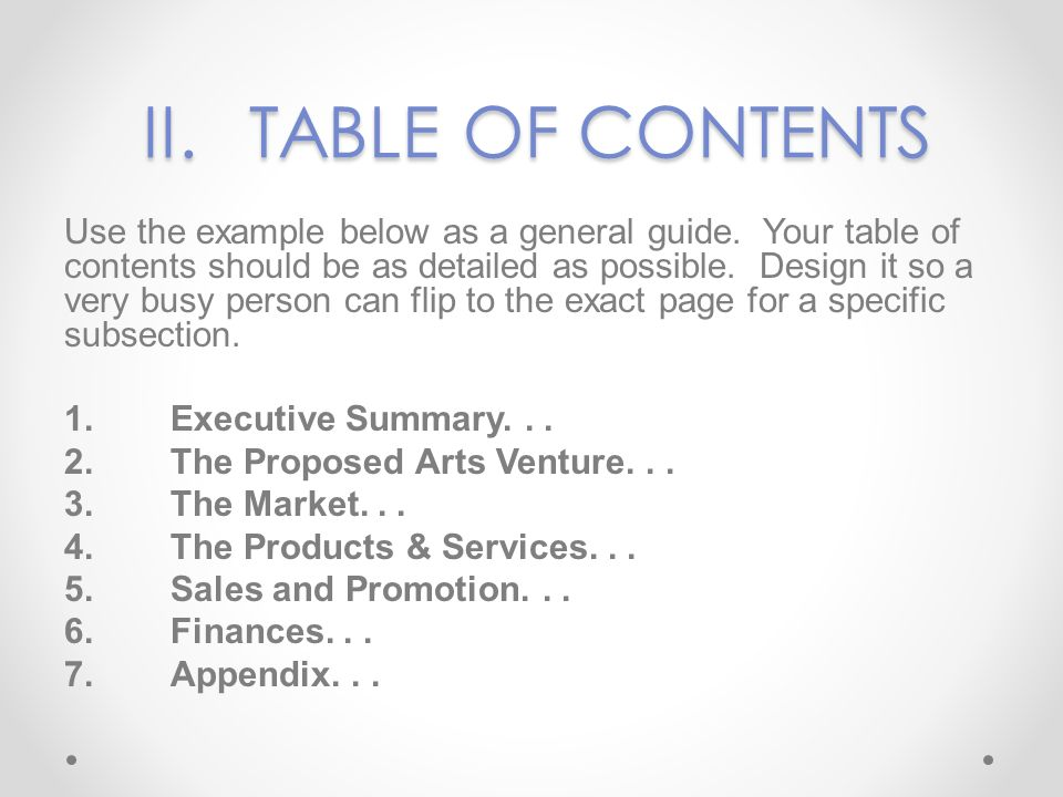 II. TABLE OF CONTENTS