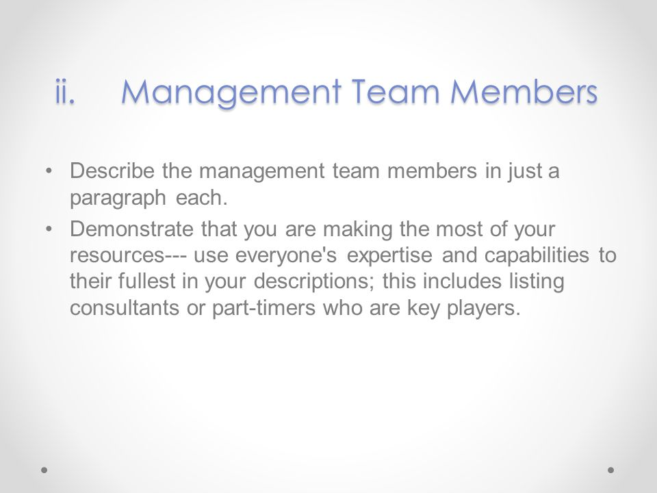 ii. Management Team Members