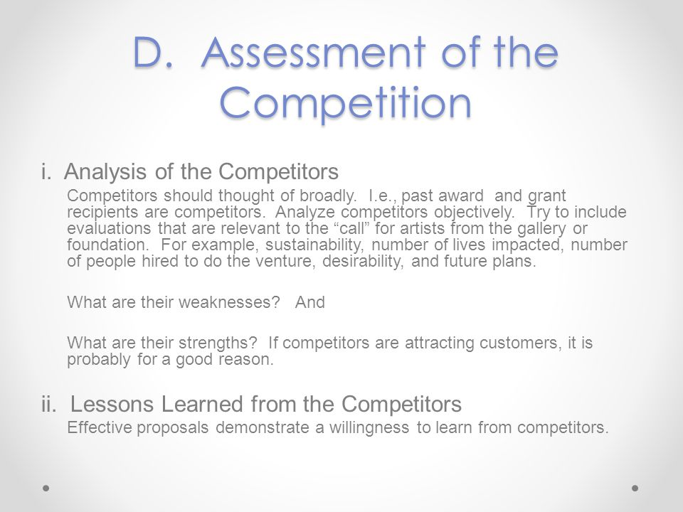 D. Assessment of the Competition