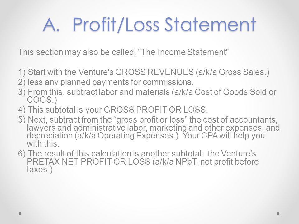 A. Profit/Loss Statement