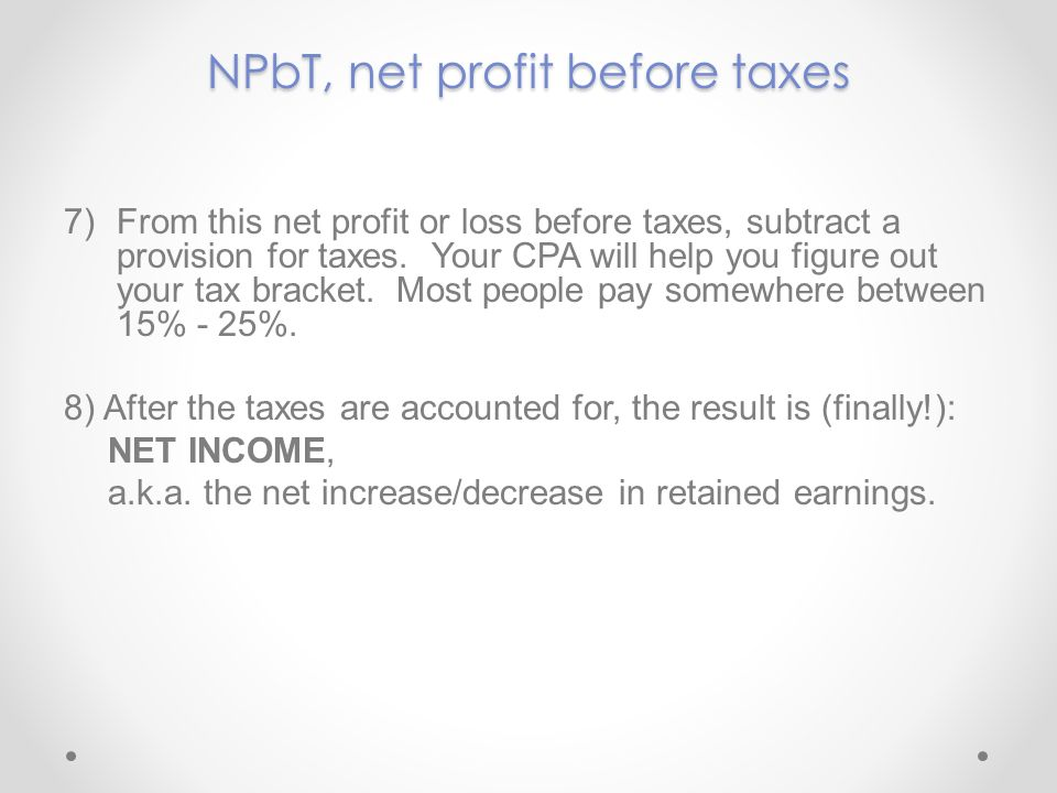NPbT, net profit before taxes