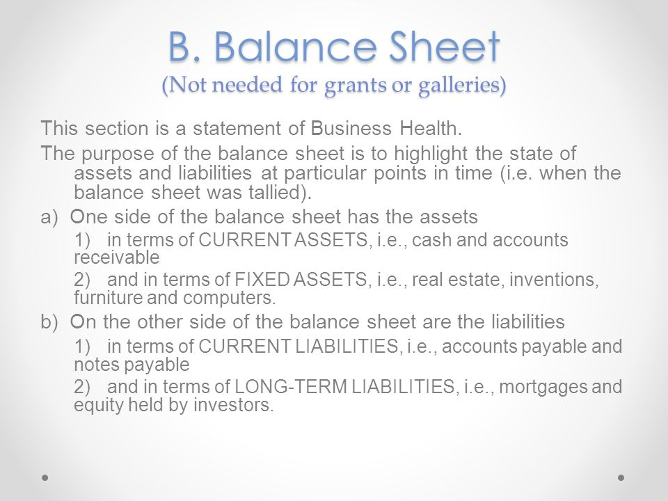 B. Balance Sheet (Not needed for grants or galleries)