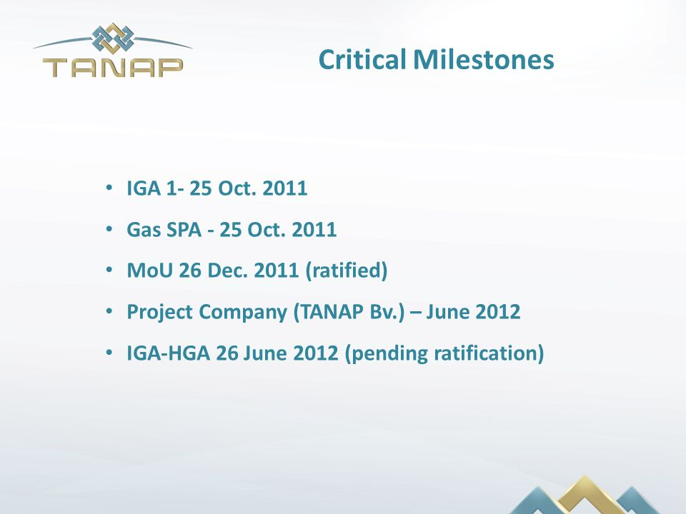 Critical Milestones IGA 1- 25 Oct. 2011 Gas SPA - 25 Oct. 2011