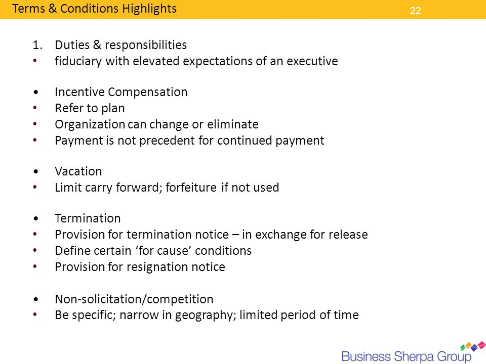 Terms & Conditions Highlights