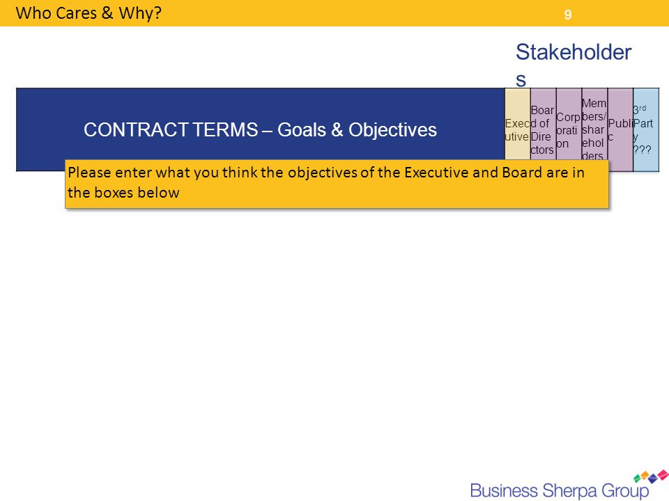 CONTRACT TERMS – Goals & Objectives
