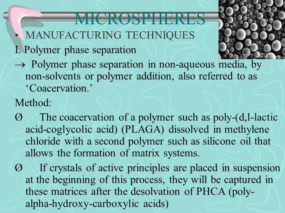 MICROSPHERES MANUFACTURING TECHNIQUES I. Polymer phase separation