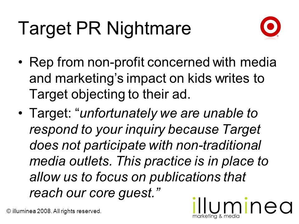 Target PR Nightmare Rep from non-profit concerned with media and marketing's impact on kids writes to Target objecting to their ad.