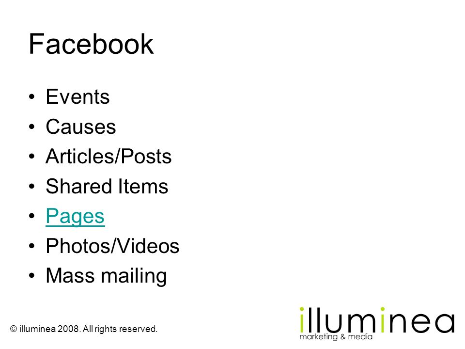Facebook Events Causes Articles/Posts Shared Items Pages Photos/Videos