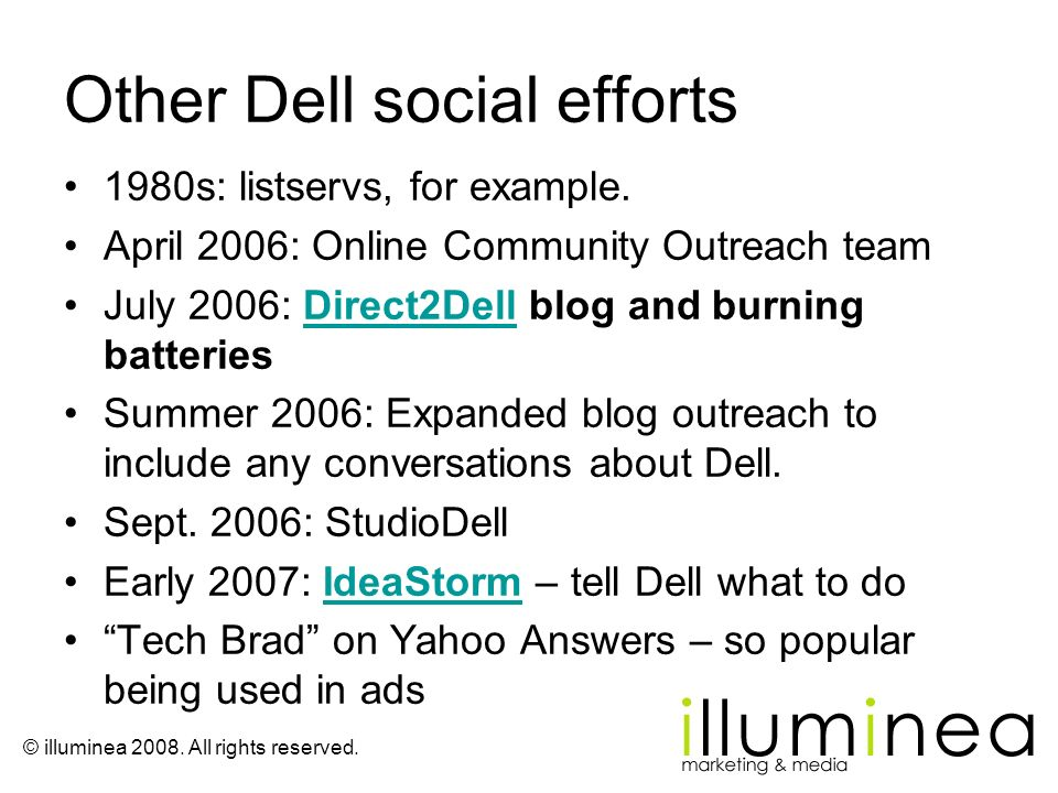 Other Dell social efforts