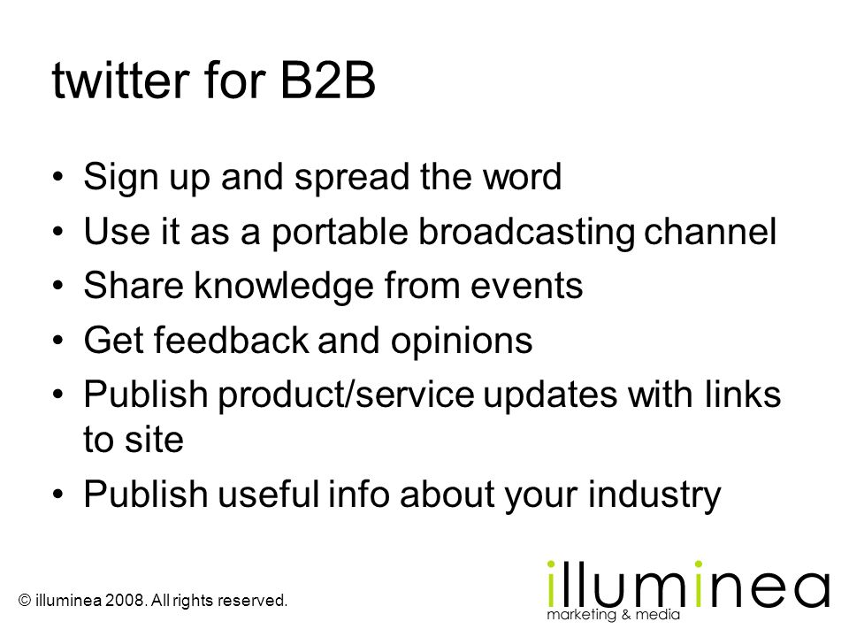 twitter for B2B Sign up and spread the word
