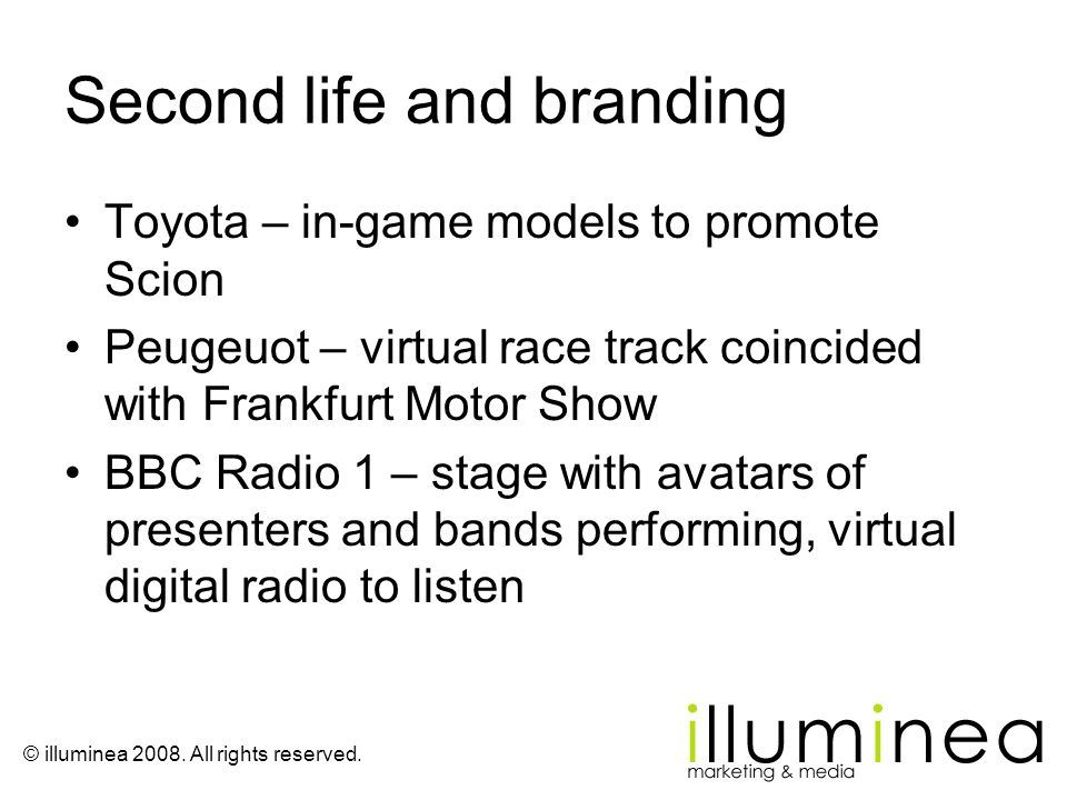 Second life and branding