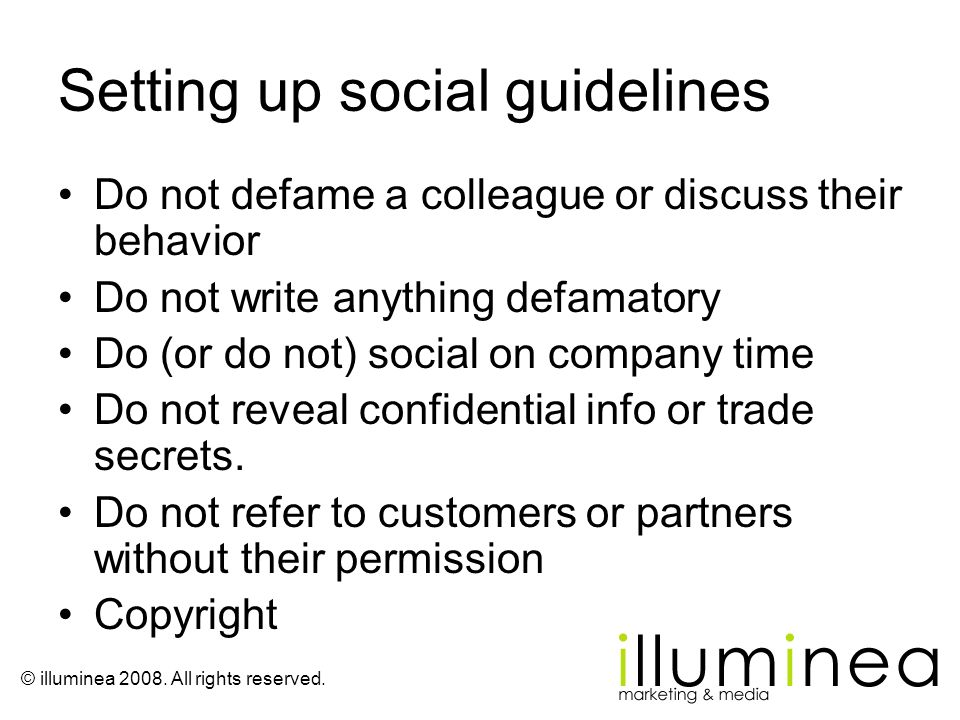 Setting up social guidelines