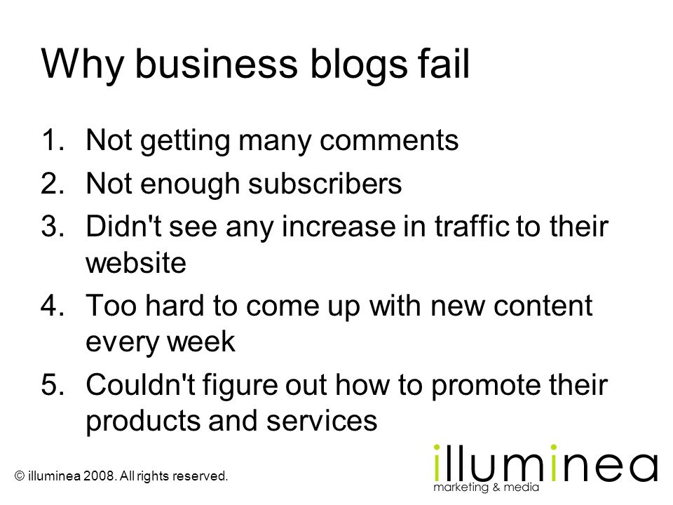 Why business blogs fail