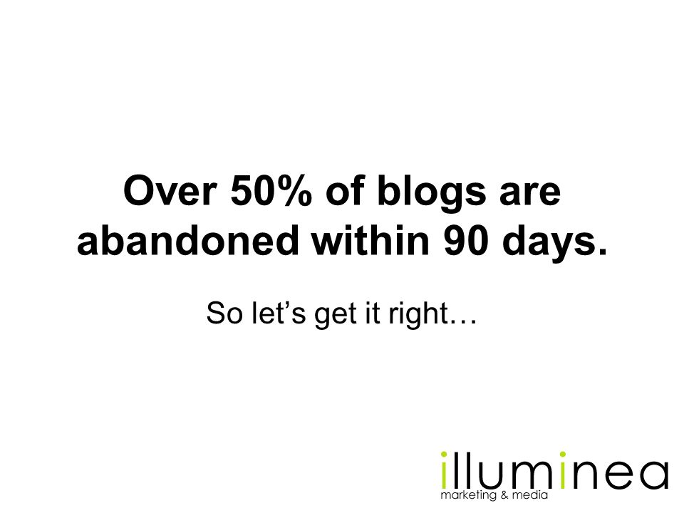 Over 50% of blogs are abandoned within 90 days.