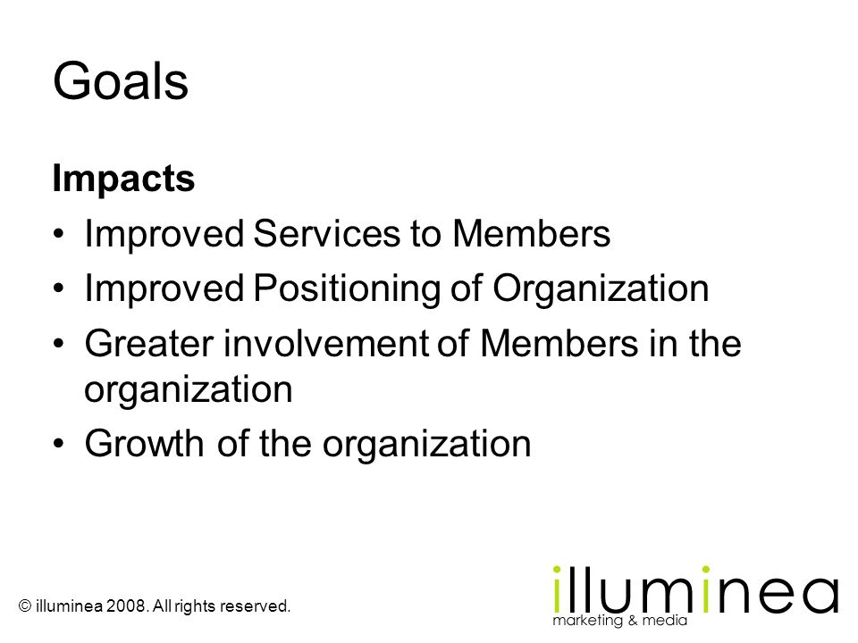 Goals Impacts Improved Services to Members