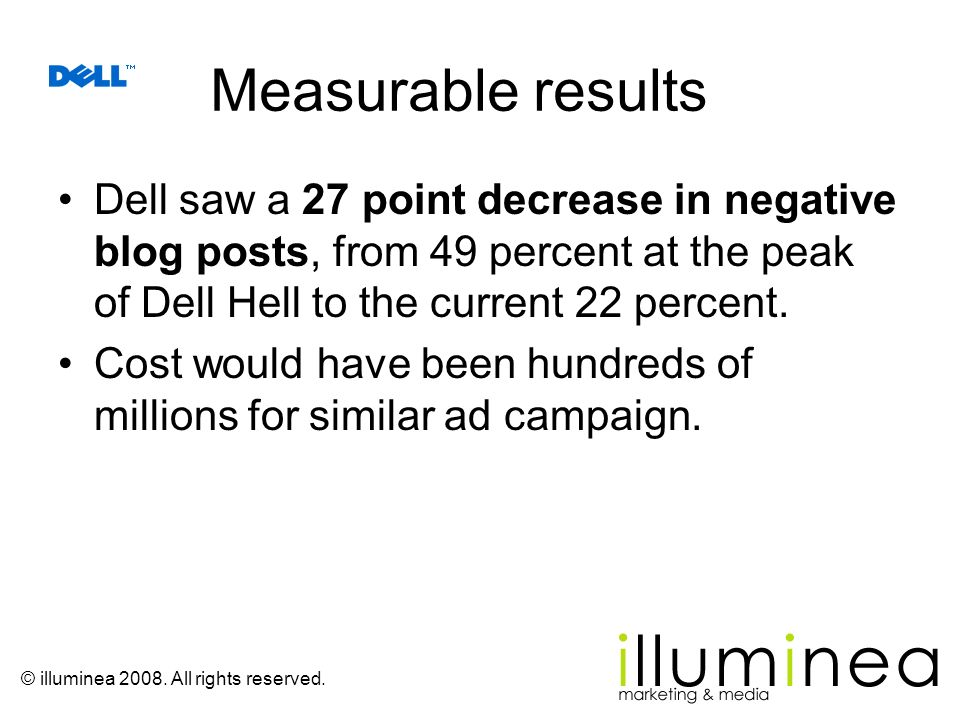 Measurable results Dell saw a 27 point decrease in negative blog posts, from 49 percent at the peak of Dell Hell to the current 22 percent.