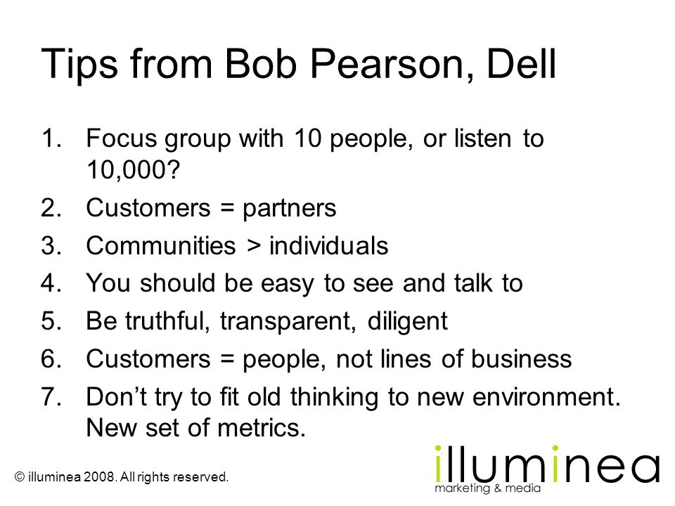 Tips from Bob Pearson, Dell