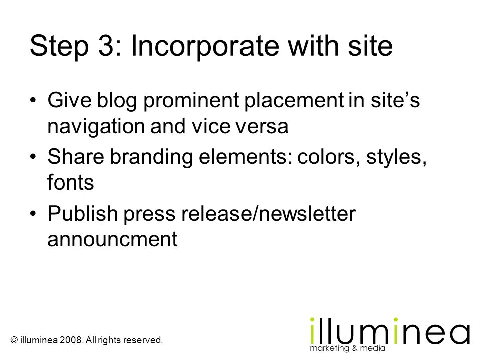 Step 3: Incorporate with site